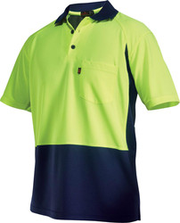 two tone hi vis workwear for men lemon navy safety polo shirt workwear