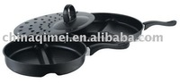 3pcs carbon steel fry pan with divisions