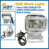 55W Search Work Light 360 Degree Truck HID Xenon Spotlight Wireless Remote For SUV / Boat /Truck / Mining / Heavy Equipment ETC