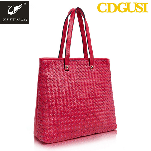 2015 Hot sale fashion style woven leather Bags Genuine cow leather handbag factory