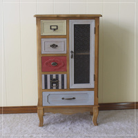 Latest hot solid wooden furniture 5drawers and 1 Door Cabinet Storage cabinet with glass door