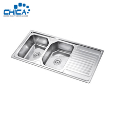 CS12050 stainless steel kitchen sink inserts with drain board