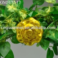 Wholesale golden glass love roses with clip for decoration