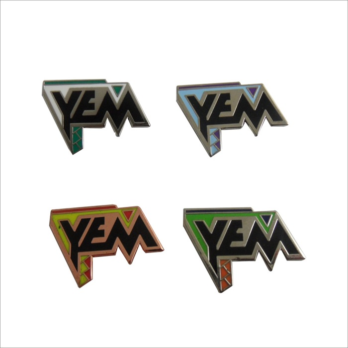 YEM letter metal lapel pin in different colors