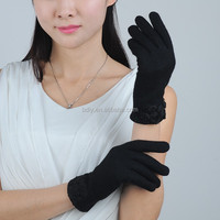 Fashion ladies black wool hand gloves,Five Finger Glove
