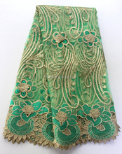 2016 hot selling nigerian party dresses aso ebi wholesale green tokay french lace fabric embroidery / Latest designs swiss lace