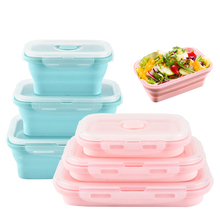 100% Food Grade 3pcs/sets Portable Silicone Folding Lunch Box Microwave Dinnerware
