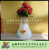 Clear plastic folding vase for flowers