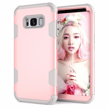 [KAYOH]Dual Layer Back Cover Hybrid Heavy Duty Shockproof Full Body Pink Case For Samsung s8 Phone Case