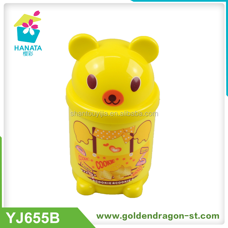 Plastic Yellow Bear Cup With Handle Bear Head Shape Plastic Cup