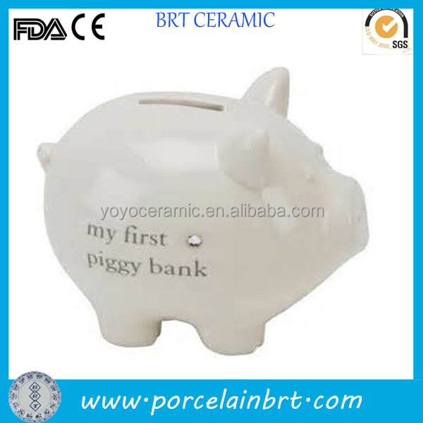 Ceramic white colour glaze pig money bank