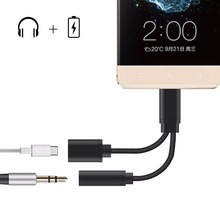 2 in 1 Moto Z Type C to 3.5mm Audio Adapter,USB-C Charging Port Splitter and Headphone Jack Adapter Cable