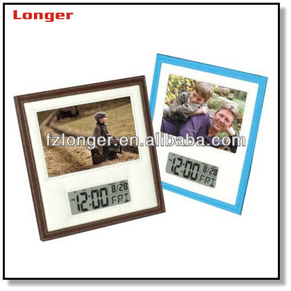 Leather battery operated digital photo frame LG3007