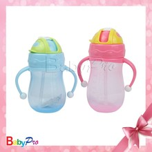 2015 hot sell promotional baby products cute shape PP+silicone material baby training cup nipple cup with color