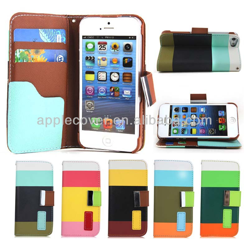 Top 1 Selling Colorful PU Wallet Phone Case for iPhone 4/4s, 5 Colors Available