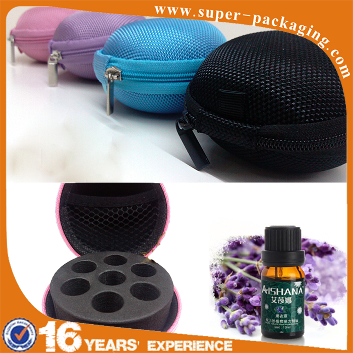 Custom packaging mini waterproof shockproof EVA essential oil bag for 7 bottles 2ml