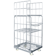 Warehouse Mobile Roll Container cage with plastic base chassis tray JS-TRC02