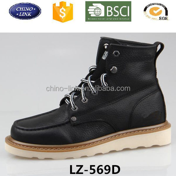 Retro stylish high platform waterproof lace up man ankle leather boot shoe