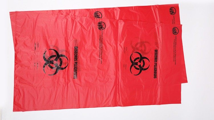 Biohazard Logo Printed White Plastic Medical Waste Bags for Healthcare Center