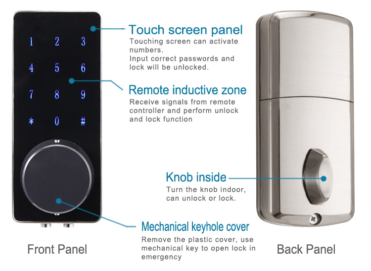 Latest screen touch electric lock with remote control