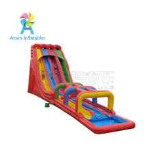 Huge colorful three lanes inflatable Triple Lindy water slide with Surf N Slide for adult and kids