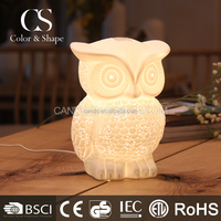 Novelty Owl Ceramic Table Lamp Power Outlet