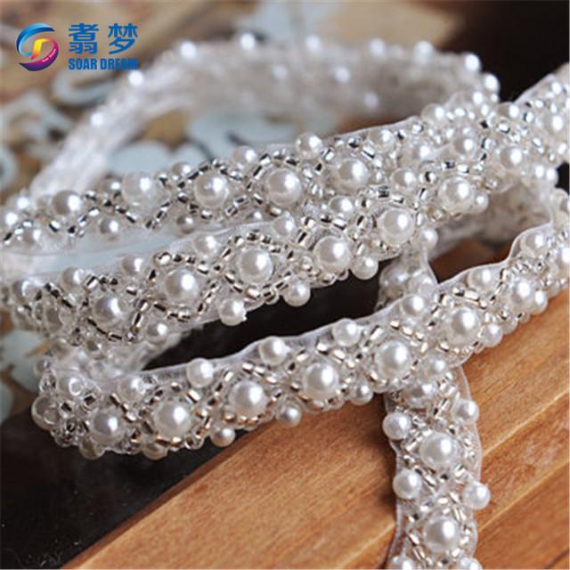 Dance costumes sparkly rhinestone pearl applique bridal beaded applique
