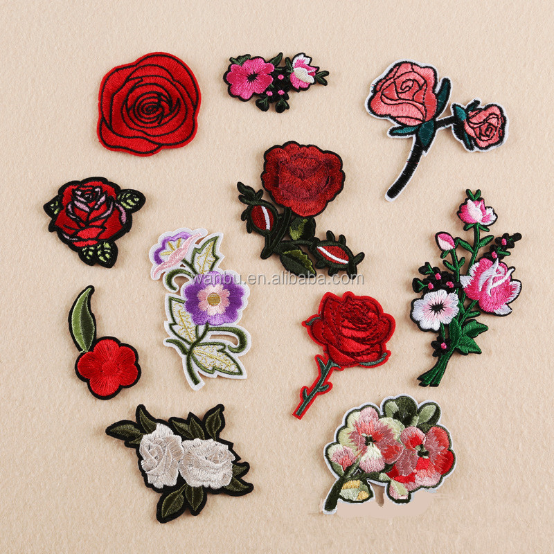 Plum Blossom Peach Red Roses Flower Patches Embroidered Iron On Patch For Clothing Sticker Badge Paste For Clothes Bag Pants