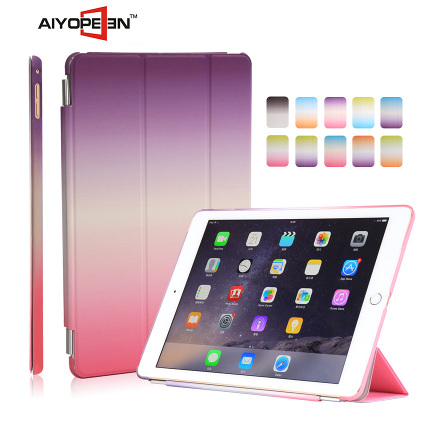 popular rainbow gradient color case Smart Cover With Auto Sleep & Wake up for ipad air/ iPad Air2