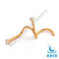 Fashion surgical steel anodized jewelled nose piercing gold jewelry