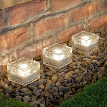 solar garden path lights frost ice brick home decoration