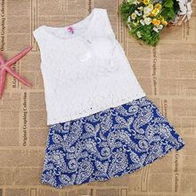Cute O-Neck Lace Tank Tops Print Mini A-Line Skirt Two Piece Set korean dress clothing for girls SV018482