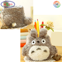 F322 Creative Stationery Cartoon Totoro Brush Pot Plush Desktop Pencil Holder Barrel Animal Flower Pot