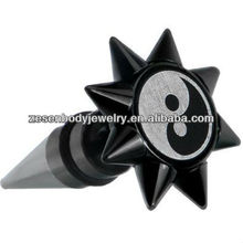 Elegant 0 Gauge Yin Yang Spiked Logo Fake Taper Ear Plug tunnel body piercing jewelry