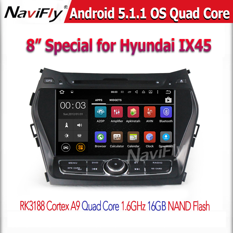 Quad Core Android 5.1.1 Car DVD GPS Player for HYUNDAI IX45 Santa Fe 2013 2014 Cortex A9 1.6GHz Audio Multimedia Stereo