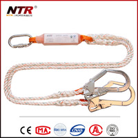 Double safety lanyards safety with shock absorber and big safety hooks