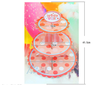 Selling Children's birthday Party Supplies The New Single product Petal Three Cake stand Fold Paper Crafts 41.5 * 30cm