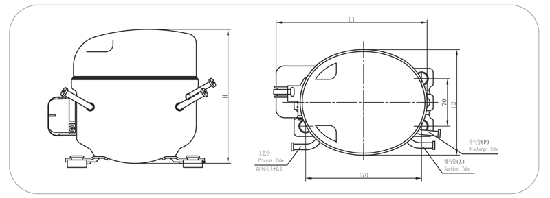 qd65y r600a commercial refrigeration compressor  view