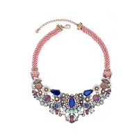 Artilady ornaments multi color resin drill crystal short flower lady bib necklace