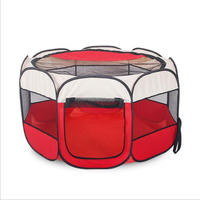 In Outdoor Octagon Pet Playpen Dog Puppy Exercise Kennel Red