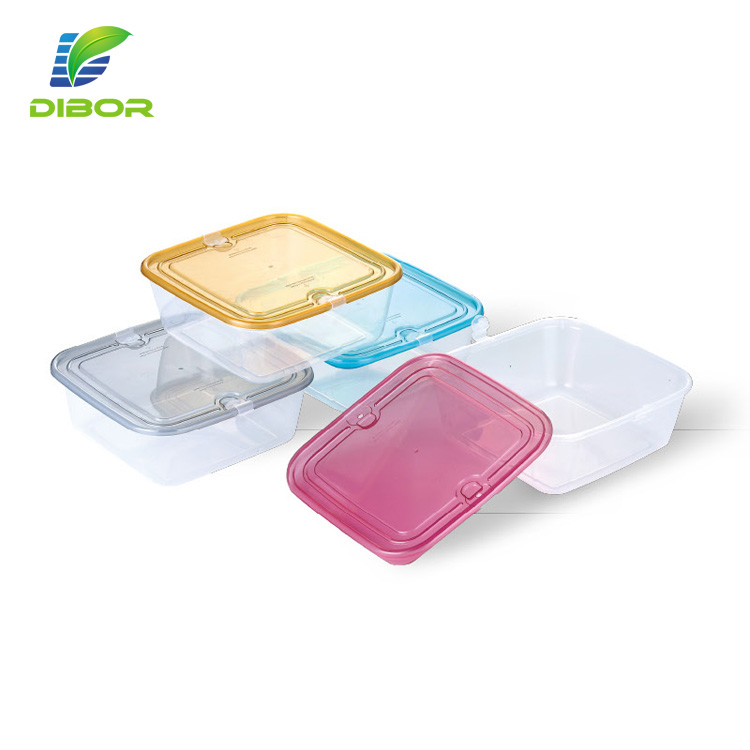 Wholesale small square cheap clear eco friendly storage box plastic food prep containers with colored lid