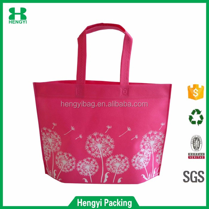Top quality pink color machine made non woven shopping tote bag for promotion