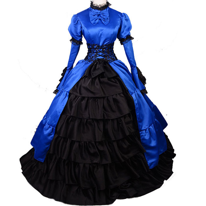 Get Quotations · 2015 Victorian dress gothic Lolita dress halloween costumes  women adult princess blue Southern ball gown victorian 3f45f4e28012