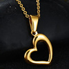 Rose Gold Love Hollow Heart Charm Pendant Necklace in Stainless Steel