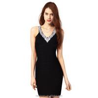 Women Autumn Hot Sequin V-Neck Halter Sexy Rayon Backless Thin Party Bandage Dress 2015 H991