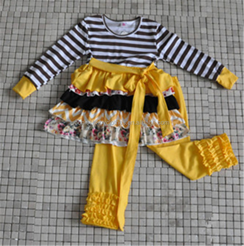 wholesale children's stripes ruffle boutique cothing 2016 kids fall winter clothes