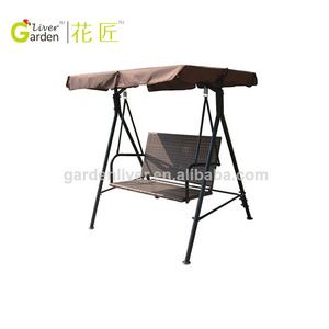 2 Seats Outdoor Adult Swing Chair With Canopy Patio Hanging Chair