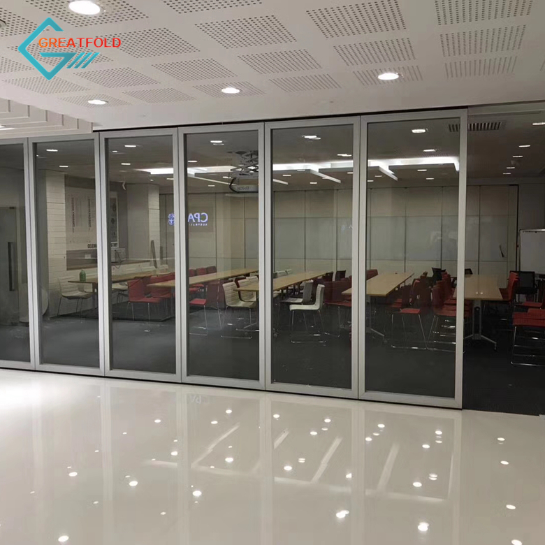 Frameless folding glass partition wall easy install sliding glass movable partition for balcony