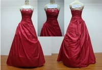 Exclusive A-line Sexy Red Wedding Gowns Taffeta Wedding Dress