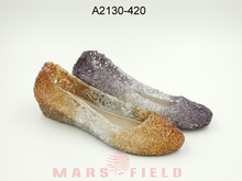 Double color wedge pvc jelly shoes for adults